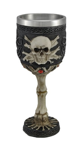 Ossuary Style Skull and Bones Port Wine Goblet Gothic 3 Oz 3 Oz Wine Goblet