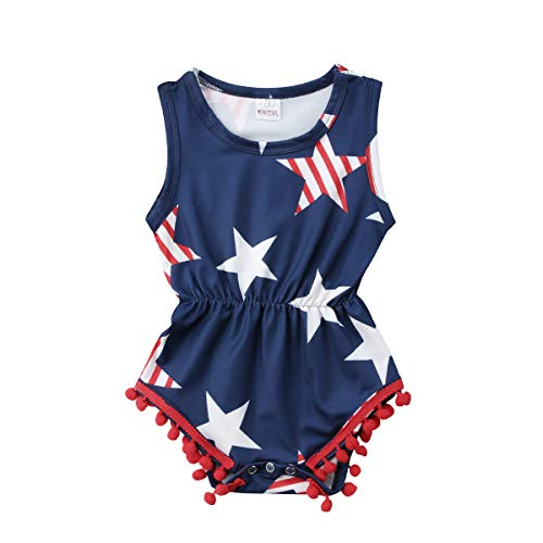 Star Usa Jump - 4th of July Toddler Baby Boy Girl USA Flag Stars Stripes Tassel Ball Romper Jumpsuit (Blue, 0-6Months)