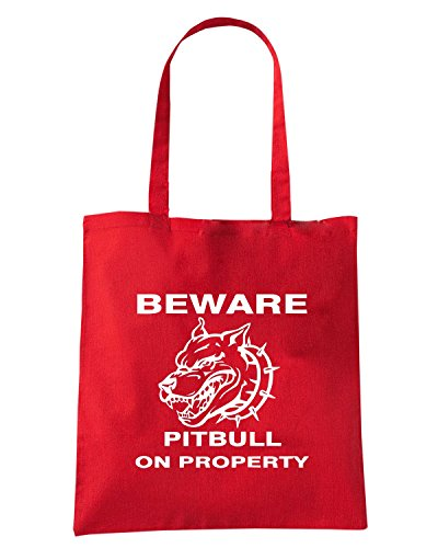 T-Shirtshock - Bolsa para la compra FUN0754 beware pitbull on property t2 Rojo