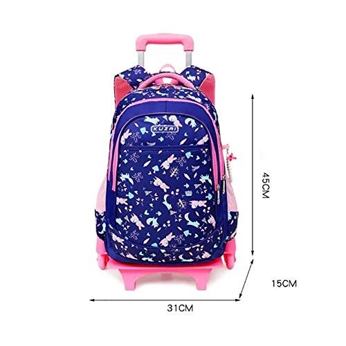 Ly-lgb Trolley School Bag Primary School Two-Wheeled Trolley Backpack Childrens Trolley Bag Color : Black, Edition : 6 Rounds