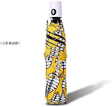AJIAO Regenschirm Mini Sonnenschutzschirm aus schwarzem Kunststoff 7 Bones 5-Fach UV-Schutz
