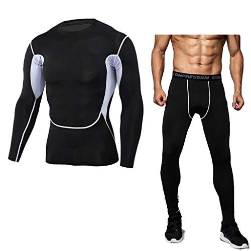 Camouflage Sports Suit Men Tight Bodybuilding T-Shirt Fast Drying Tops+Pants ()