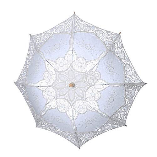 Travel Umbrella Lace Embroidered Wooden Handle Umbrella for Bridal Wedding Party Cosplay (L, Beige) ()