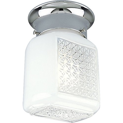 Progress Lighting P3081-15 Wall Sconce with White and Clear Ribbed Glass K.O. For Switch, Polished Chrome ()