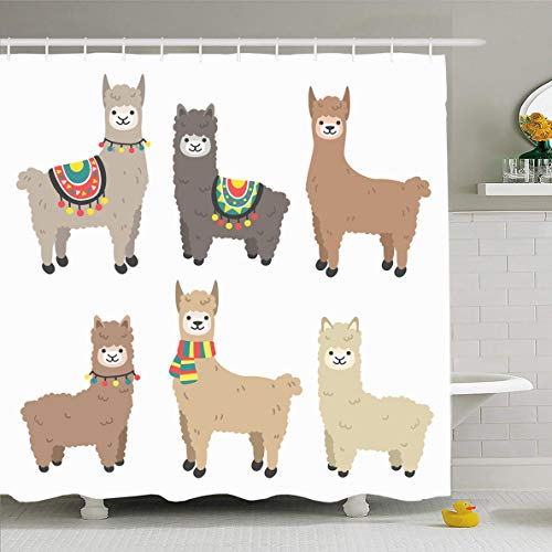 - Ahawoso Shower Curtain 60 x 72 Inches Farm Lama Cute Llamas Alpacas Funny Smiling Fluffy Nature Peru Character Camel Smile Design Scarf Waterproof Polyester Fabric Bathroom Set with Hooks