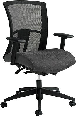 Global Vion Mesh Managers Office Chair, Adjustable Arms, Granite Rock (6322-8-UR20) Gray/Silver