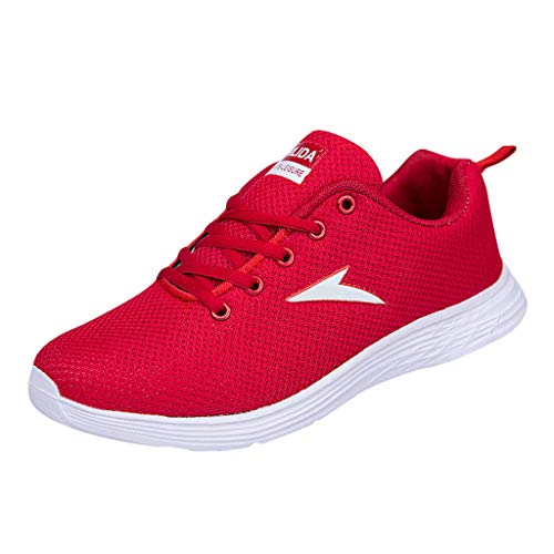 iHPH7 Shoe Running Fashion Cushioning Sneakers Casual Mesh Breathable Running Shoes Round Toe Sneakers Men (39,Red)