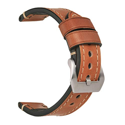 Mens Watch Strap,EACHE Vegetable Tanned 26mm Genuine Leather Handmade Watch Band for Tissot,Light Brown-Silver (Genuine Omega Buckle)