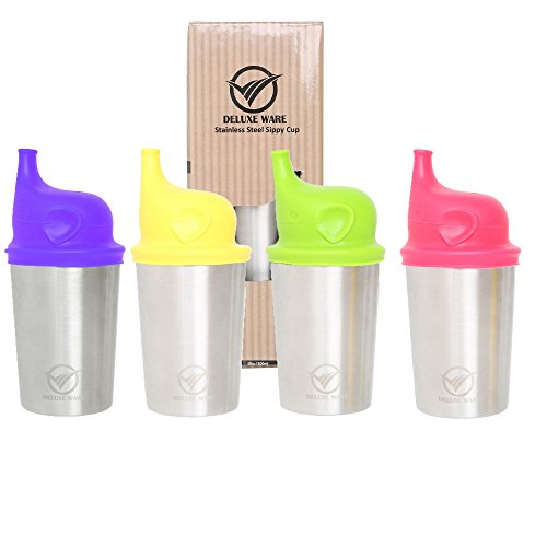 Deluxe Ware Stainless Steel Toddlers Babies Kids Cups with Elephant design Sippy Lids, 10oz BPA Free set of 4 Cups and Lids, Soft Spout stretch tops (4 coulours Lids) - Reusable, Dishwasher friendly