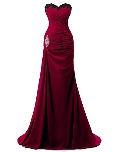 (WenSai Women's Pleated Chiffon Beach Wedding Dresses Long Evening Party Gown with Appliques Burgundy us18w)