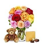 Silk Flower Arrangements Flowers - One Dozen Rainbow Roses with Godiva & Bear (Free Vase Included)