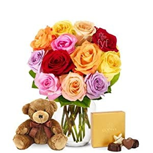 Flowers – One Dozen Rainbow Roses with Godiva & Bear (Free Vase Included)