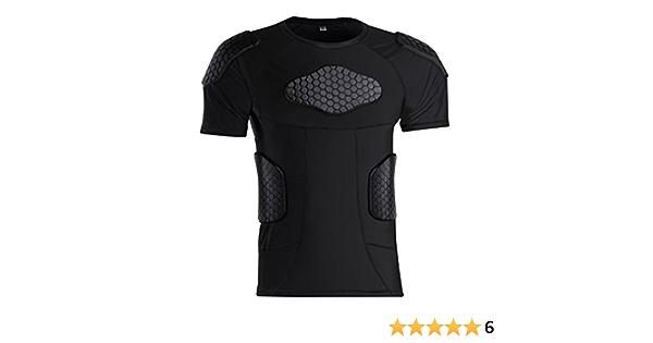 Men Spandex Chest Shoulder Padded Protective Football Shirt Blcak M//L//XL//XXL