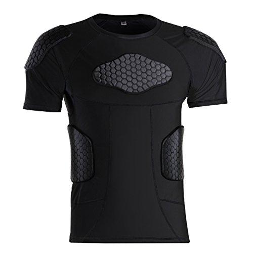 - Men's Football Padded Shirt Compression T Shirt Rib Protector Shirts for Baseball Hockey MMA Soccer Basketball Bike Cycling Rugby Parkour Paintball Snowboard Ski Volleyball Size XL