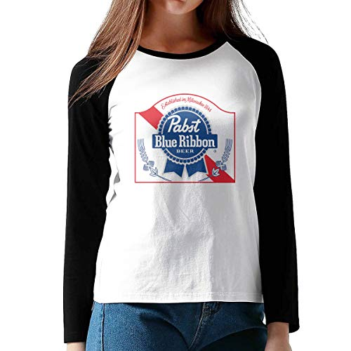 (KLA2000 Women's T-Shirts PBR Pabst Blue Ribbon Beer Long-Sleeve Raglan Baseball Tees Sports Uniforms, 100% Cotton)