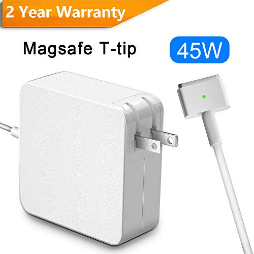 Compatible with MacBook Air Charger 45W, Rocketek MagSafe 45W 2nd-Gen T Shape Connector AC Power Adapter, Mag 2 T-Tip Power Adapter Charger for Mac-Book Pro 13