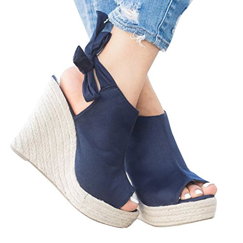 Seraih Womens Summer Wedge Sandals Espadrille Open Toe Heels Strappy Tie Knot Closure Shoes ()