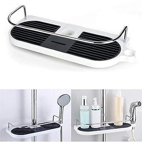Jabonera de ducha. Estante portaobjetos para colgar en la barra telescópica de la ducha. Organizador de acero inoxidable y aluminio para el baño: Amazon.es: ...