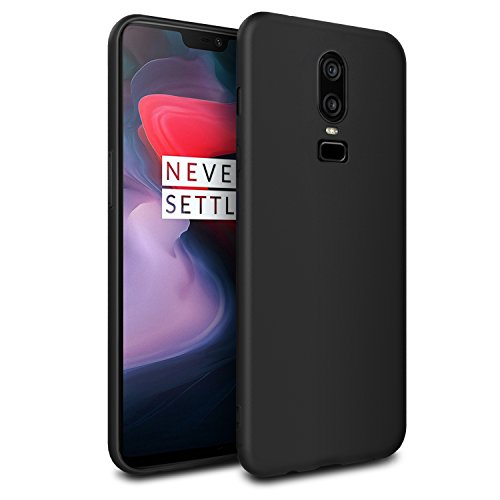 EasyAcc Slim Case for OnePlus 6, Matte Black TPU Phone Cases Finish Profile Back Protective Cover Compatible with OnePlus 6