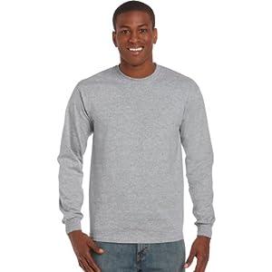 Gildan Mens Plain Crew Neck Ultra Cotton Long Sleeve T-Shirt (XL) (Sport Grey)