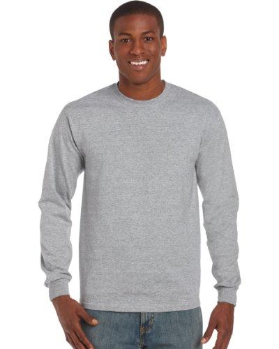 Gildan Mens Plain Crew Neck Ultra Cotton Long Sleeve T-Shirt (L) (Sport Grey)