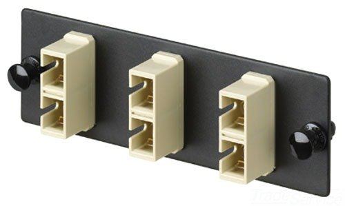 Panduit FAP12WEISC Multi-Mode 12-Port Fiber Adapter Panel with Phosphor Bronze Split Sleeve, Electric Ivory