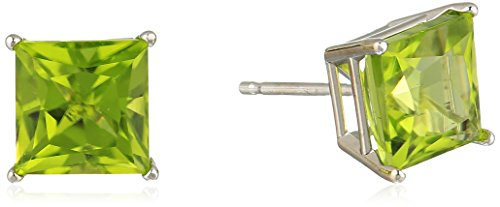 10K White Gold Princess cut Peridot Stud Earrings, (7mm)