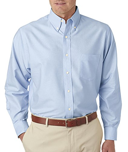 (UltraClub Men's Tall Blended Oxford Shirt, Light Blue, X-Large Tall)