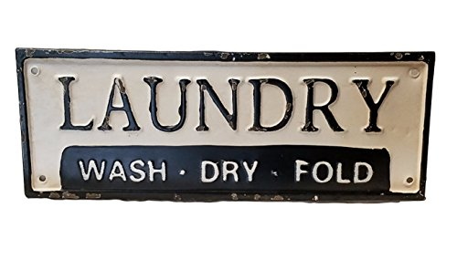 Metal Enamel Sign (Vintage Metal Laundry Wash and Fold Sign (Laundry))