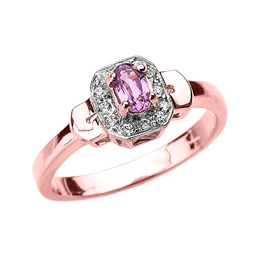 Solid 14k Rose Gold Beautiful Diamond and Pink Sapphire Engagement (Claddagh Pink Sapphire Ring)