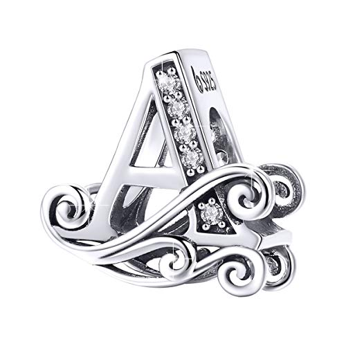 (BAMOER 925 Sterling Silver Initial Letter A Charms for Snake Chain Bracelet Necklace Alphabet)