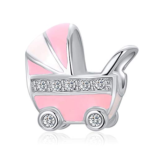 Stepforward Lovely Baby Gift Enamel 925 Sterling Silver Baby Carriage Charm Fit Bracelet and Necklace