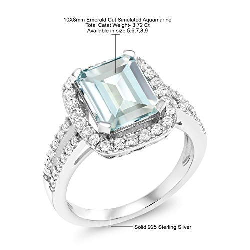 Gem Stone King 925 Sterling Silver Sky Blue Simulated Aquamarine Women's Engagement Ring 3.72 Ct Emerald Cut (Available 5,6,7,8,9)