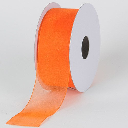 (BBCrafts 1-1/2 inch x 25 Yards Sheer Organza Ribbon Decoration Wedding Party (Orange))