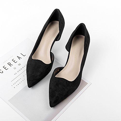 El Heel GAOLIM Mujer Punta Shoes Solo De Lado Vacíe Zapatos La Muelle Zapatos Del Fina Con Negro De En High Luz De 5fp8f