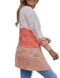 ACKKIA Abrigo de punto para mujer, estilo casual, con parte frontal abierta, color negro