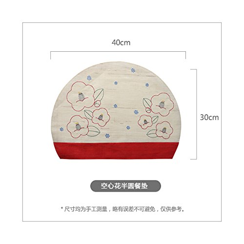 RUGAI-UE Place-mats Pure Japanese style vertical scenery export refreshing summer mat material natural ramie embroidered mat,Hollow flower semicircle
