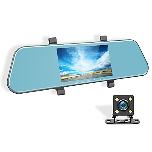 "Mirror Dash Camera - XME Car Recorder Video 5"" Touch Screen 1080P Front 720P Rear Dual Cameras 170 Wide Angle Lens Dashboard HD Mirror Backup Camera Night Vision G-Sensor Loop Recording"
