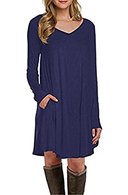 Happy Sailed Women Long Sleeve Pocket Casual Loose T-Shirt Dress