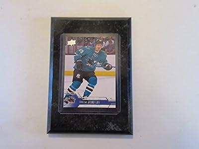 """Mikkel Boedker San Jose Sharks Upper Deck 2017 player card mounted on a 4"""" x 6"""" black marble plaque"""