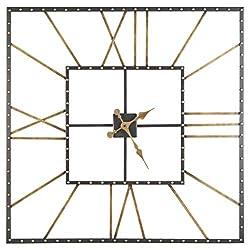 Thames Casual Black/Gold Wall Clock Black Metal