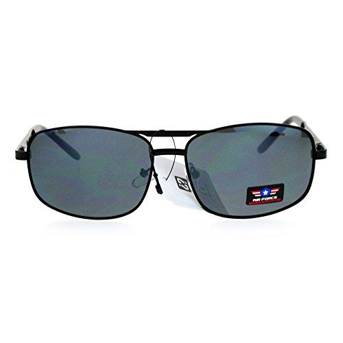 Air Force Mens Metal Narrow Rectangular Aviator Sunglasses All - Sunglasses Narrow Aviator