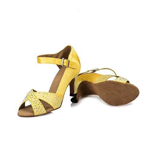Miyoopark Femmes Talon Évasé Satin Piste Sandales Samba Cha Cha Chaussures De Danse Jaune