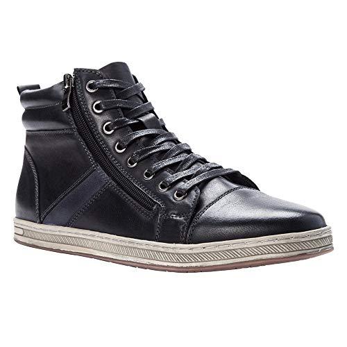 Propet Men's Lucas Hi Black Waxy Nubuck 10 M US (Zipper Men Sneaker Top High)