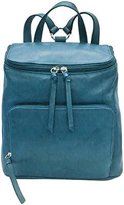 b410055cb63b ili Leather 6502 Backpack Handbag with RFID Lining (Jeans Blue ...