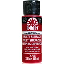FolkArt Multi-Surface Paint in Assorted Colors (2 oz), 2901, Apple Red