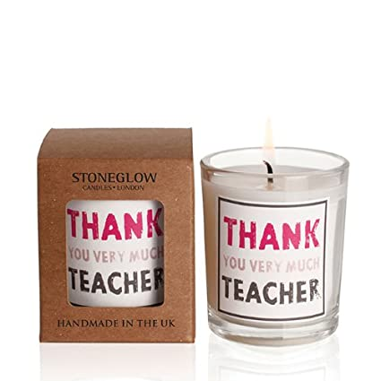 "Vela aromática en caja regalo, diseño con el texto en inglés ""Thank You Teacher"", ideal como regalo para profesor"