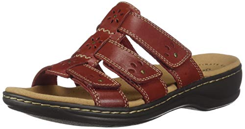 (Clarks 26134494: Women's Leisa Spring Red Leather Sandals (8 B(M) US Women, Red Leather))