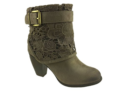 LADIES FASHION SUEDE COWBOY ANKLE BOOTS SIDE ZIP BROWN SIZE UK 3-8