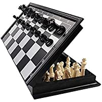 Happy GiftMart Folding High Quality & Smooth Surface Magnetic Chess Board Black and White 9.5 inch